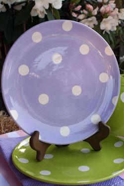 Polka Dot Luncheon Plate - Lavender
