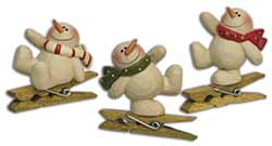 Dancing Snowman Clip Ornaments (Set of 3)