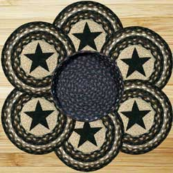 Black Star Braided Jute Trivet Set