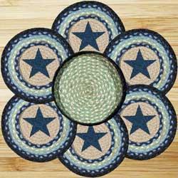 Blue Star Braided Jute Trivet Set