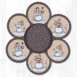 Snowman Braided Jute Trivet Set