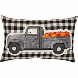 Buffalo Black Check Pumpkin Truck Pillow