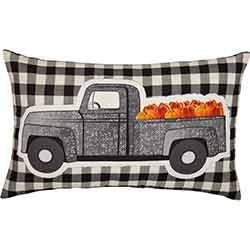 Buffalo Black Check Pumpkin Truck Pillow