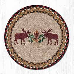 Moose and Pinecone Braided Placemat - Round