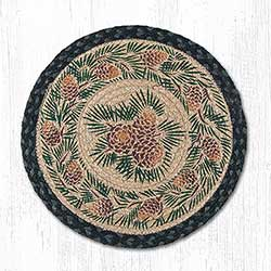 Pine Cone Round Braided Placemat