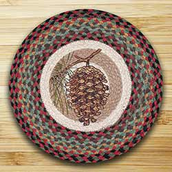 Burgundy & Sage Pinecone Round Braided Placemat