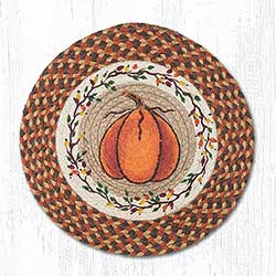 Harvest Pumpkin Round Braided Placemat