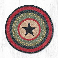 Black Star Round Placemat (Burgundy & Olive)