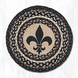 Fleur de Lis Round Braided Placemat (Black & Brown)