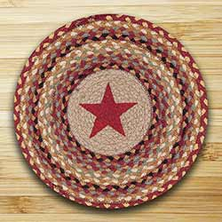 Burgundy Star Round Braided Placemat