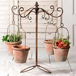 Decorative Plant Caddy with Pots