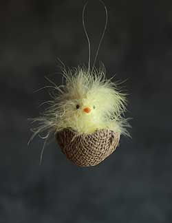 Fluffy Chick in Burlap Egg Ornament