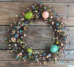 Spring Eggs & Berries Candle Wreath