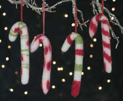 Felted Candy Cane Ornament