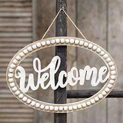 Welcome Beaded Oval Sign