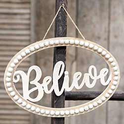 Believe Beaded Oval Sign