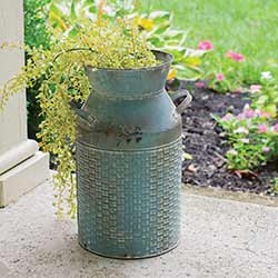 Distressed Blue Basketweave Milk Can