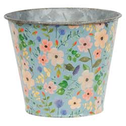 Distressed Blue Floral Metal Bucket