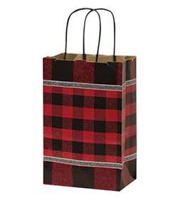 Small Buffalo Check Red Gift Bags (Set of 10)
