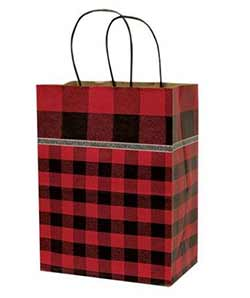 Medium Buffalo Check Red Gift Bag