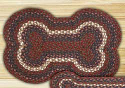 Burgundy and Grey Dog Bone Jute Rug