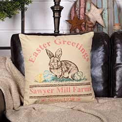 Easter Greetings Bunny Throw Pillow