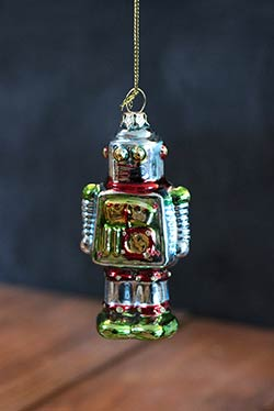 Robot Ornament - Blue