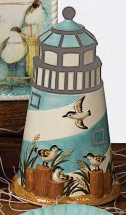 Beach Cottage Lighthouse Cookie Jar