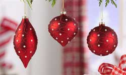 Red Glass Ornament with Pearl Beads