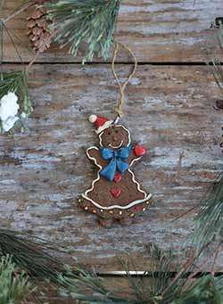 Gingerbread Girl Ornament with Blue Bow