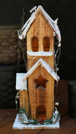 Holly Lighted Bird House