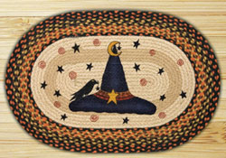Witch Hat & Crow Oval Jute Rug