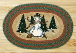 Winter Wonderland Oval Patch Braided Rug