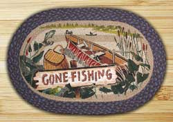 Gone Fishing Oval Patch Braided Rug