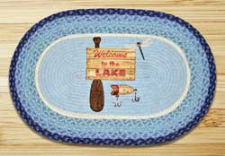 Welcome To The Lake Oval Patch Braided Rug