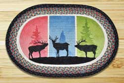 Color Block Stags Oval Patch Braided Rug