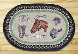Equestrian Oval Patch Braided Rug