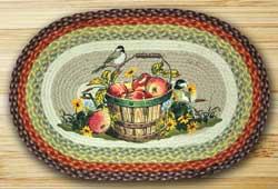Apple Chickadee Oval Patch Braided Rug
