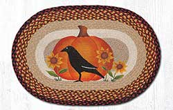 Crow Pumpkin & Sunflower Braided Rug