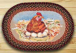 Hen & Eggs Oval Patch Rug