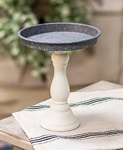 Distressed White Pedestal Candle Tray - 9.5 inch