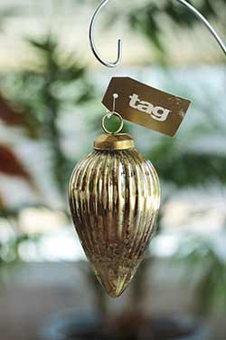 Gold Cone Ribbed Mercury Ornament