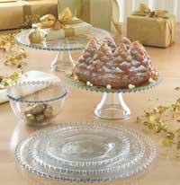 Hobnail Rim Glass Cake Plate, Large