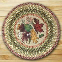 Earth Rugs Autumn Leaves Braided Jute Rug - Round