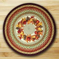Earth Rugs Autumn Wreath Braided Jute Rug - Round