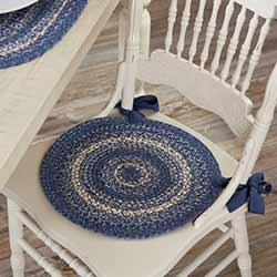 Great Falls Blue Braided Chair Pad