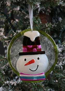 Festive Holiday Glass Ornament - Green Snowman
