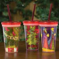 Carson Festive Holiday Water Cup with Straw