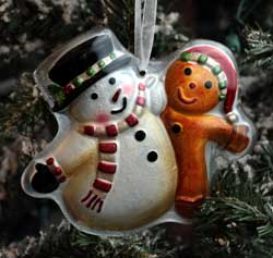 Home Christmas Ornament - Snowman with Ginger Friend
