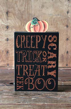 Happy Haunting Wood Sign with Pumpkin